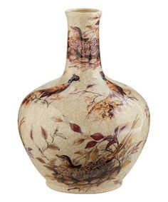 "12"" Genie Crackled Ceramic Pheasants Vase"