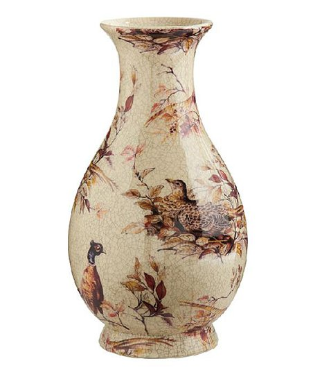 "15.75"" Crackled Ceramic Pheasants Vase"