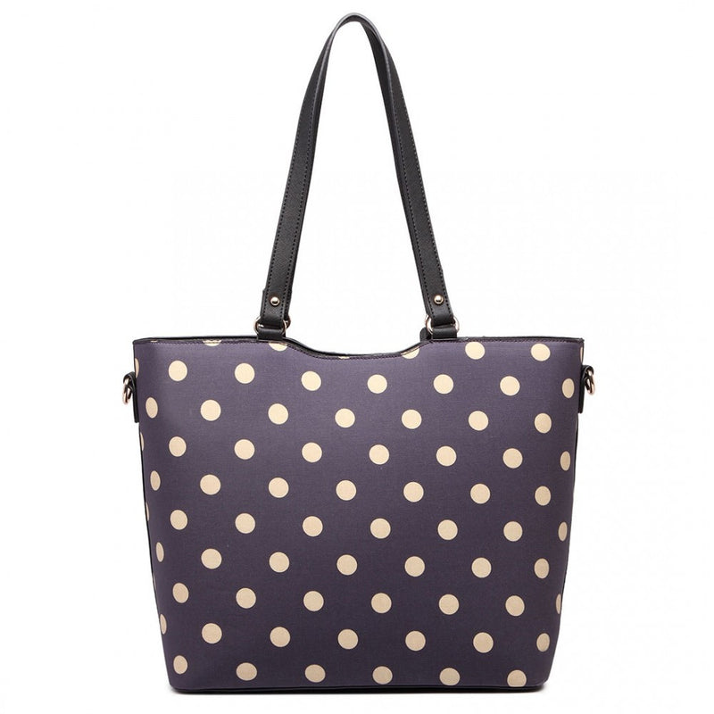 Polka Dot Print Tote Bag - Purple