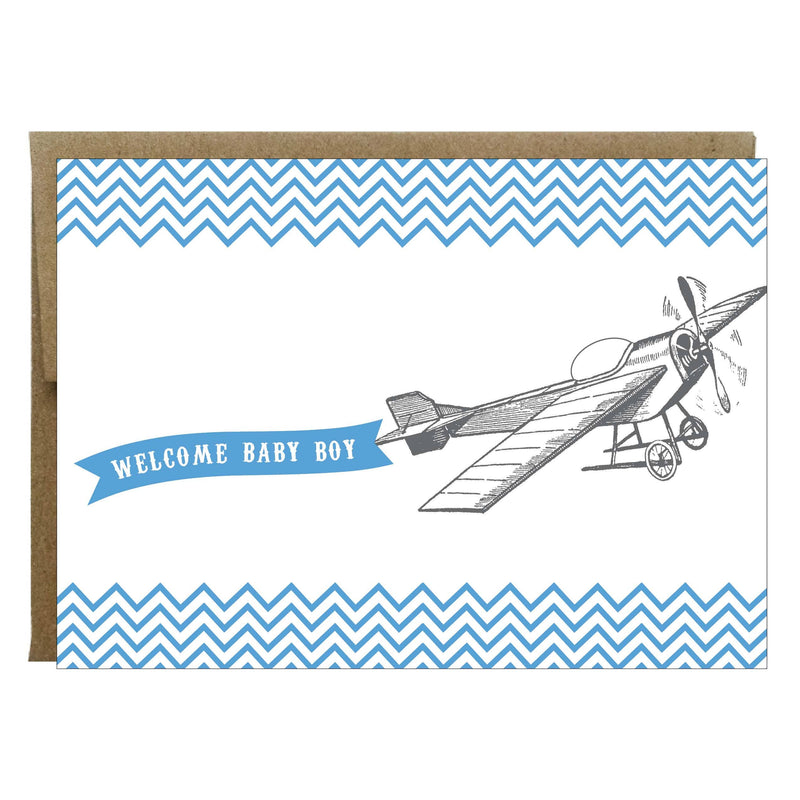 Welcome Baby Boy Vintage Plane Greeting Card