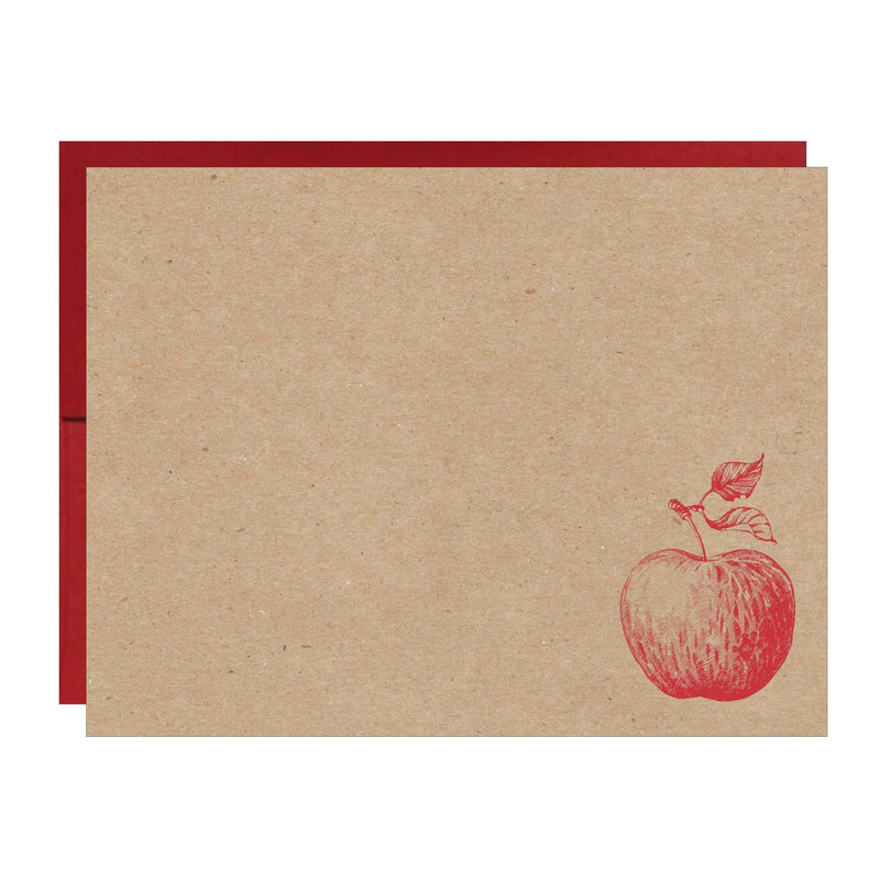 Apple Letterpress on Natural Chipboard Card