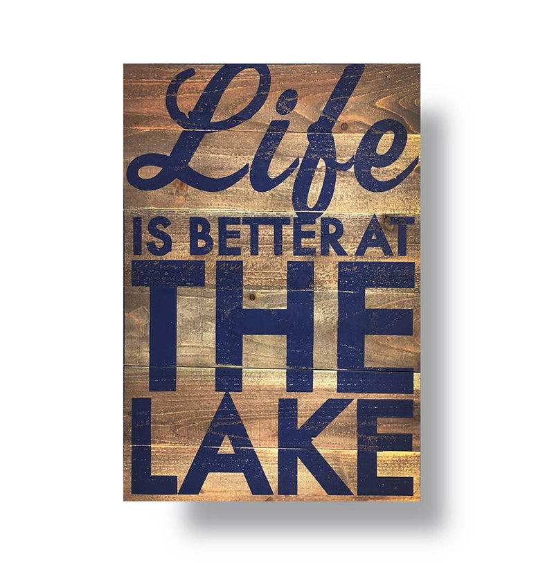 Life is Better at the Lake Navy Cedar Sign (18x27)