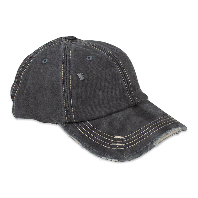 Distressed Unisex Grey Washed Baseball Cap
