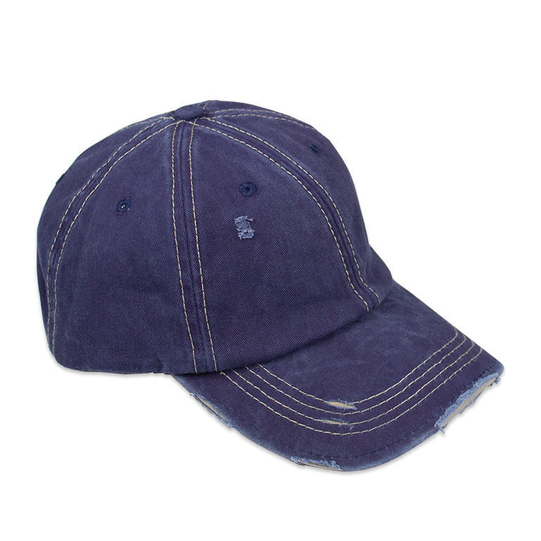 Distressed Unisex Navy Washed Baseball Cap