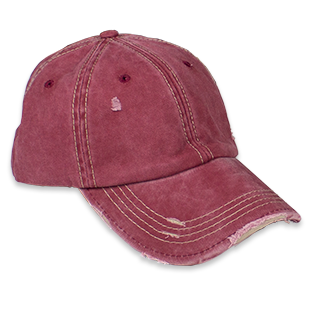 Distressed Unisex Wine Washed Baseball Cap