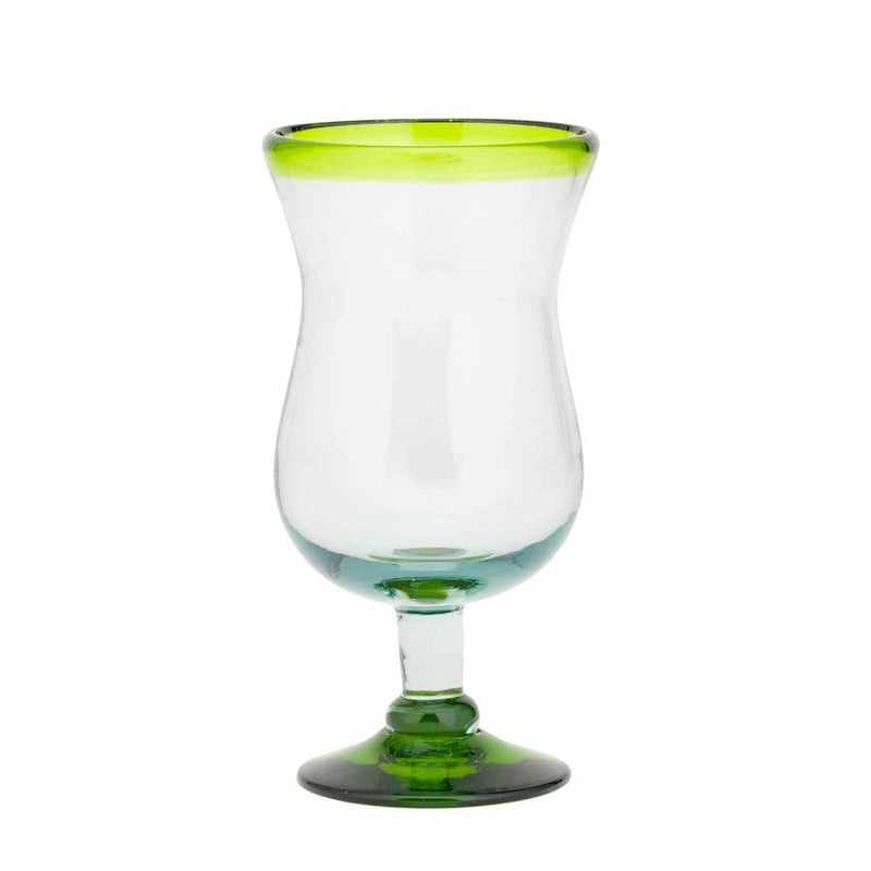 Glass - Green Rim Hurricane (16 oz.)