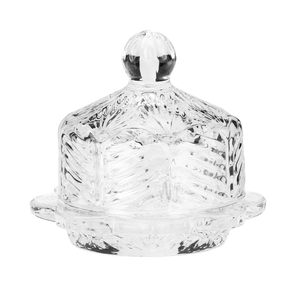 Floral Round Butter Dish - Glass