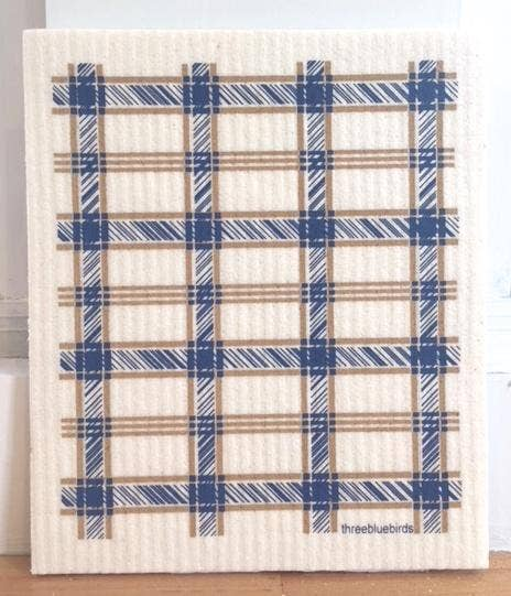 Blue Plaid Swedish Dishcloth