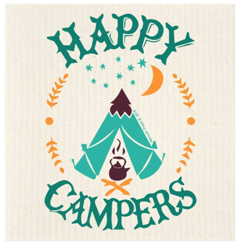Happy Campers Tent Swedish Dishcloth