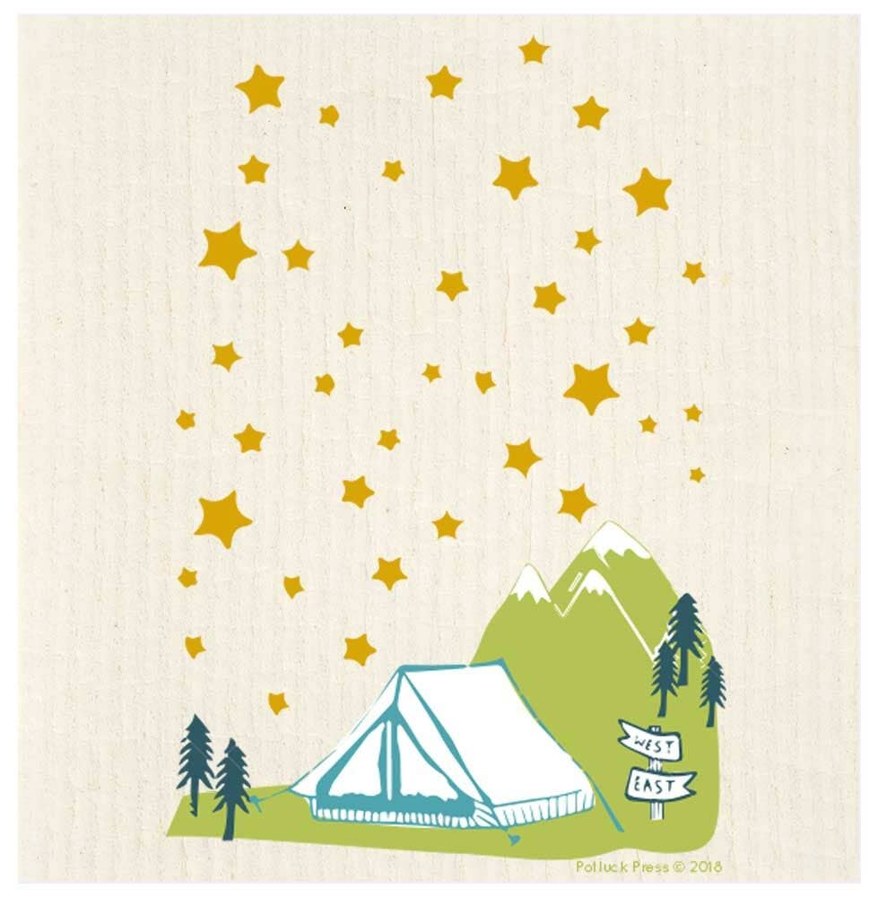 Tent Under Stars Swedish Dishcloth