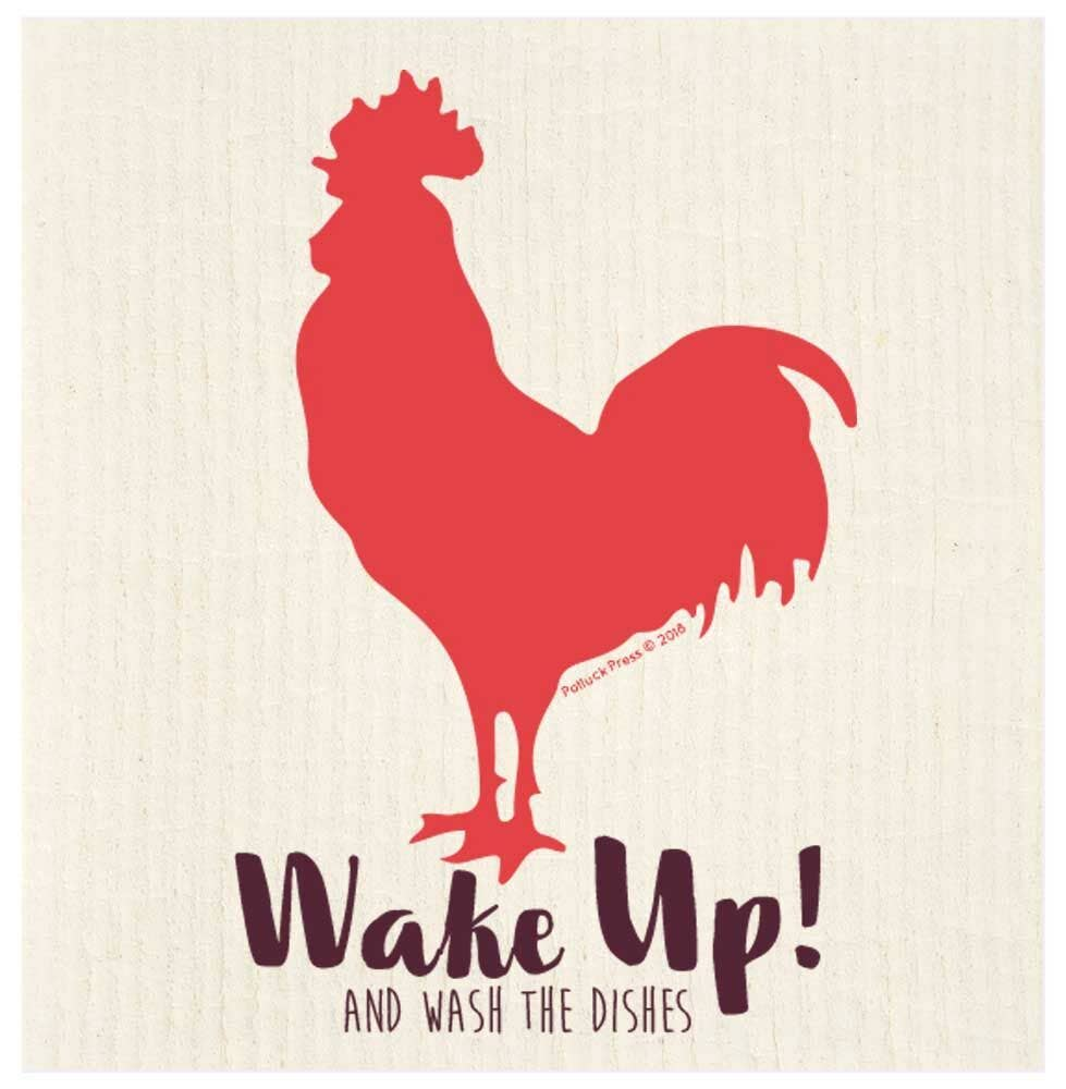 Wake Up Rooster Swedish Dishcloth