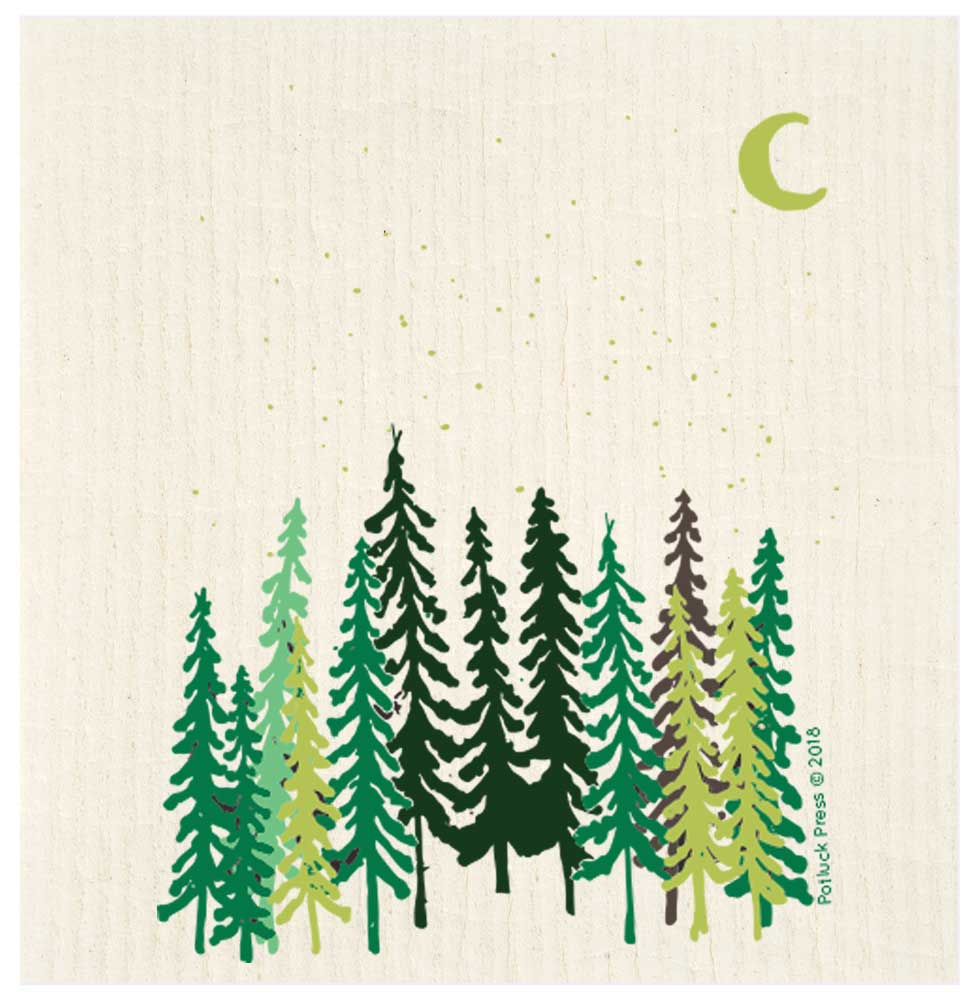 Tall Trees and Moon Swedish Dishcloth