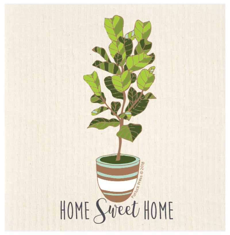 Home Sweet Home Fiddle Leaf Fig Swedish Dishcloth