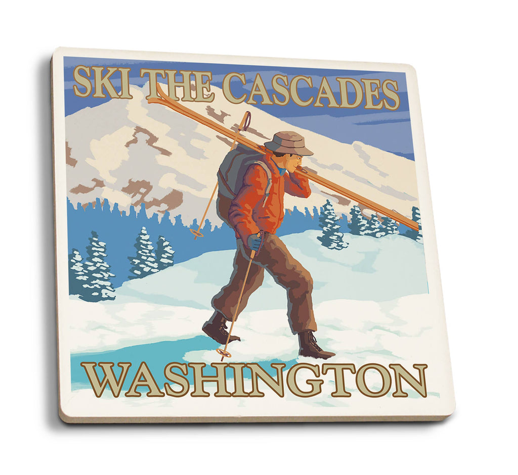Cascades - Washington Skier Carrying Skiis Ceramic Coasters