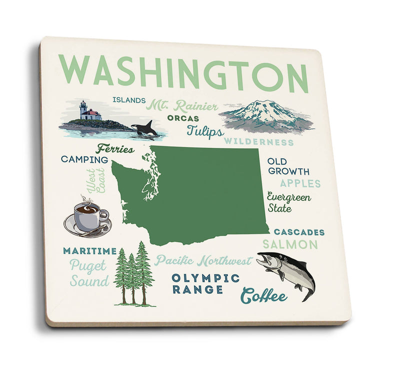 Washington - Typography and Icons Ceramic Coasters