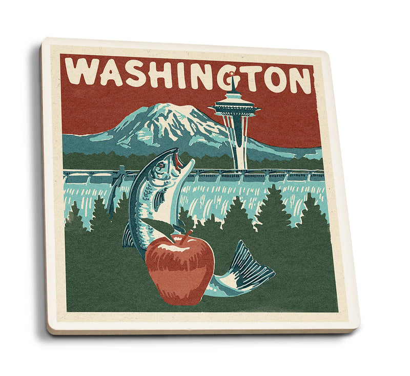 Lantern Press - Washington State - Woodblock Ceramic Coasters