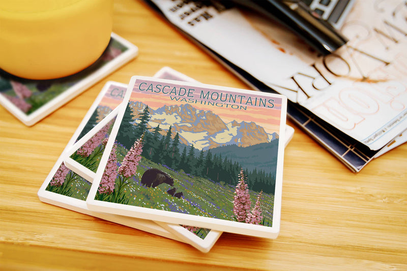 Cascade Mountains - Washington Bears Spring Flowers Coaster