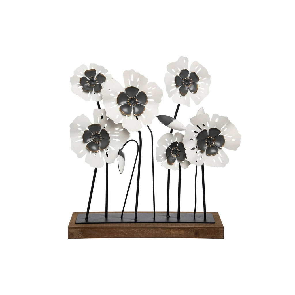 Bunch of Black & White Flowers on Stand