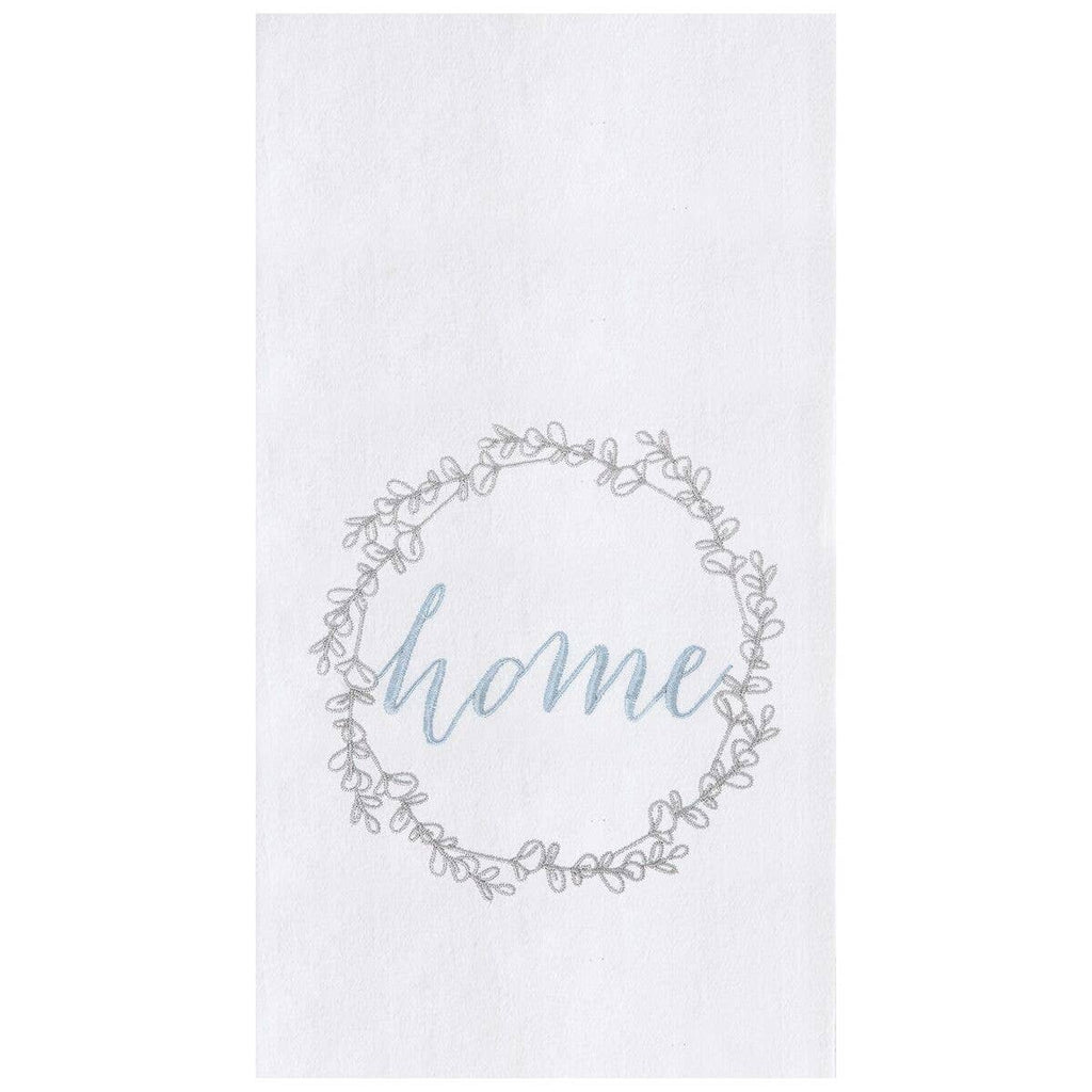 Home Wreath Embroidered Flour Sack Kitchen Towel
