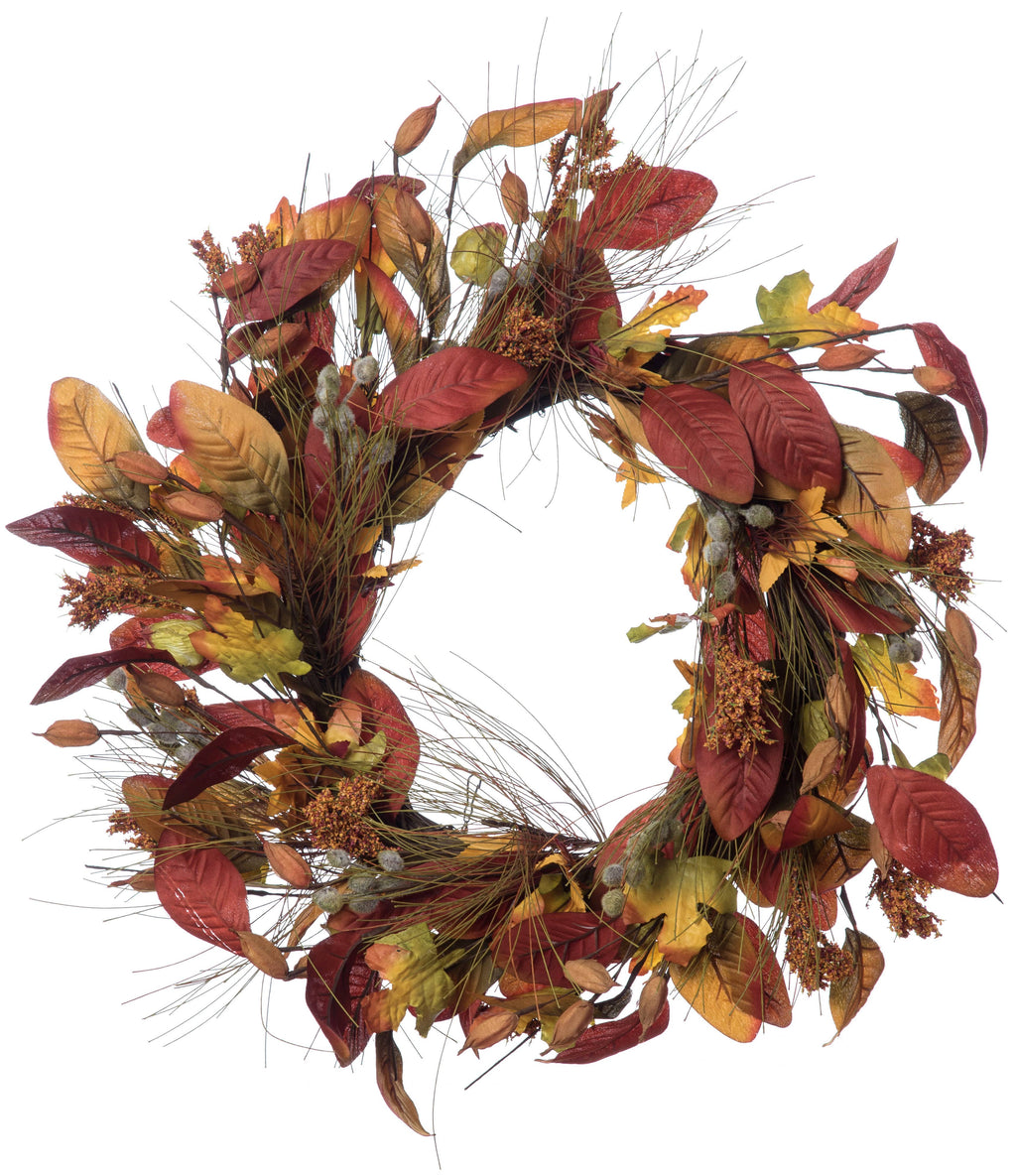 Fabric Harvest Leaf Wreath