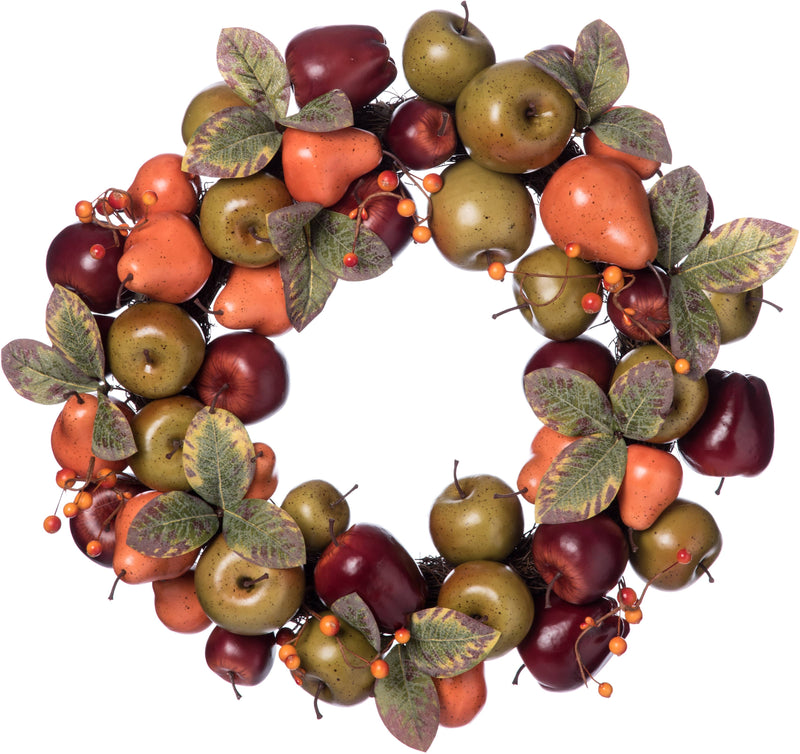 "20"" Wood Harvest Fruit Wreath"