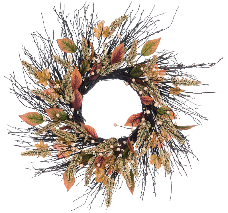 "24"" Wood Harvest Twig Time Wreath"