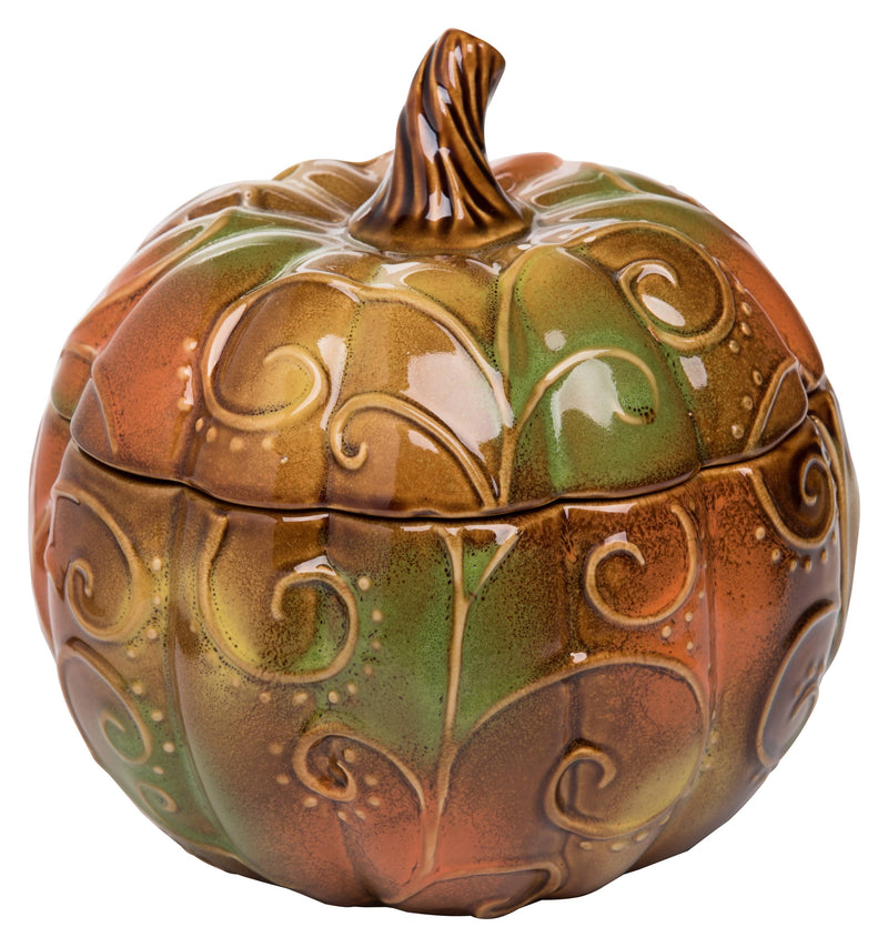 Large Ceramic Harvest Woodland Greens Pumpkin Container