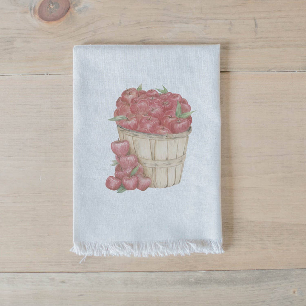 Red Apples in Basket Watercolor Napkin