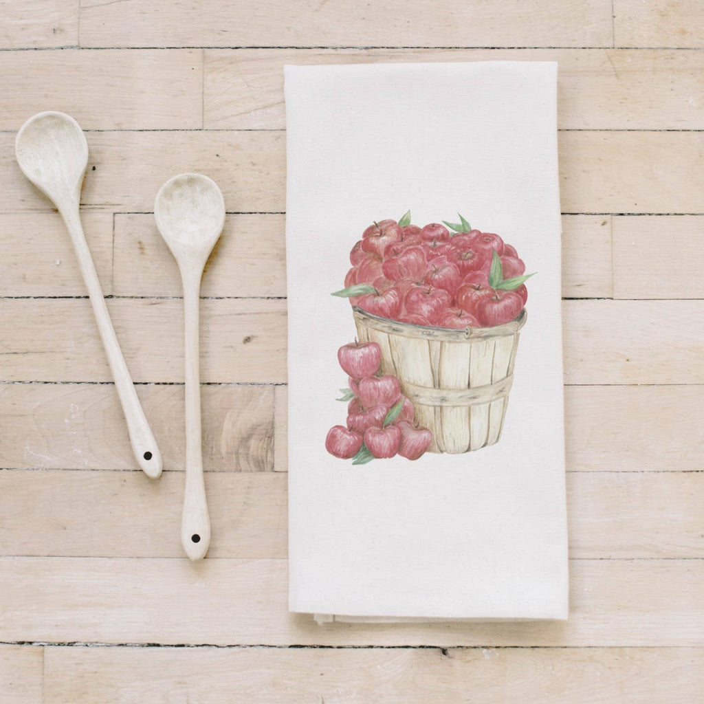 Apple Basket Watercolor Tea Towel