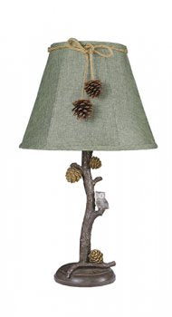 Pine Branch and Owl Accent Lamp with Dark Green Shade