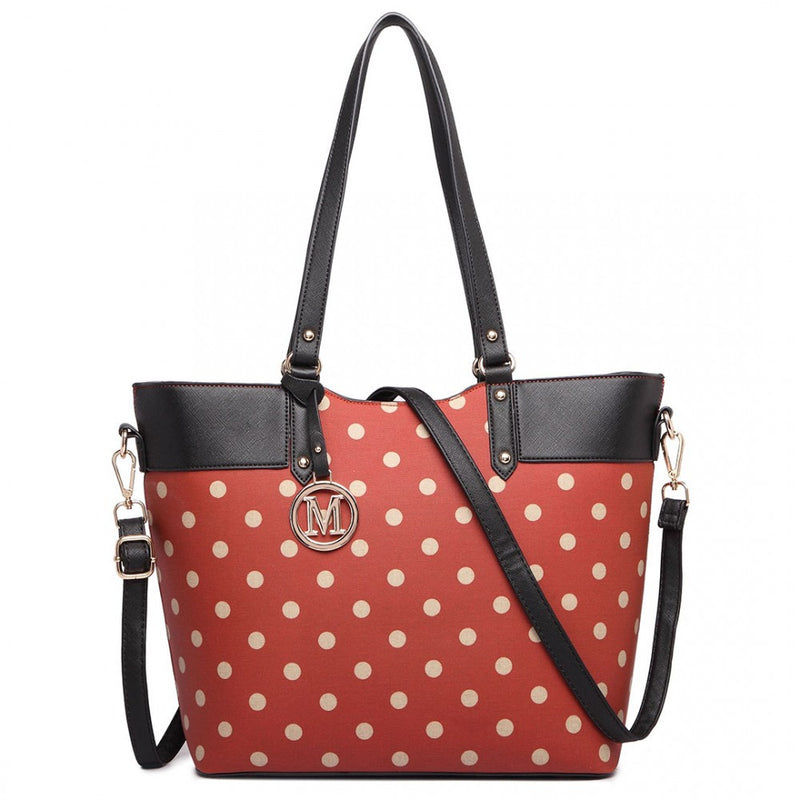 Polka Dot Print Tote Bag - Red