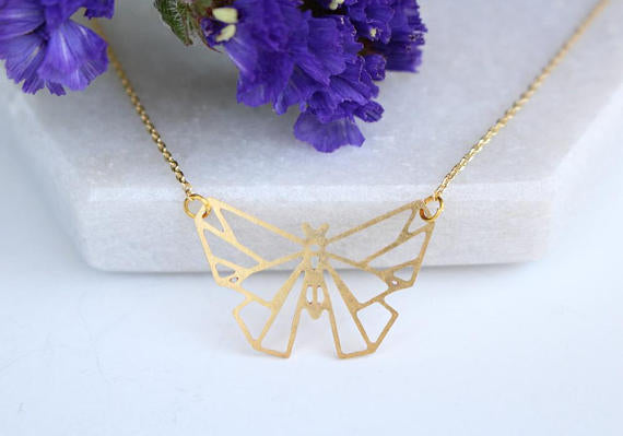 Butterfly Geometric Necklace | Silver Plated