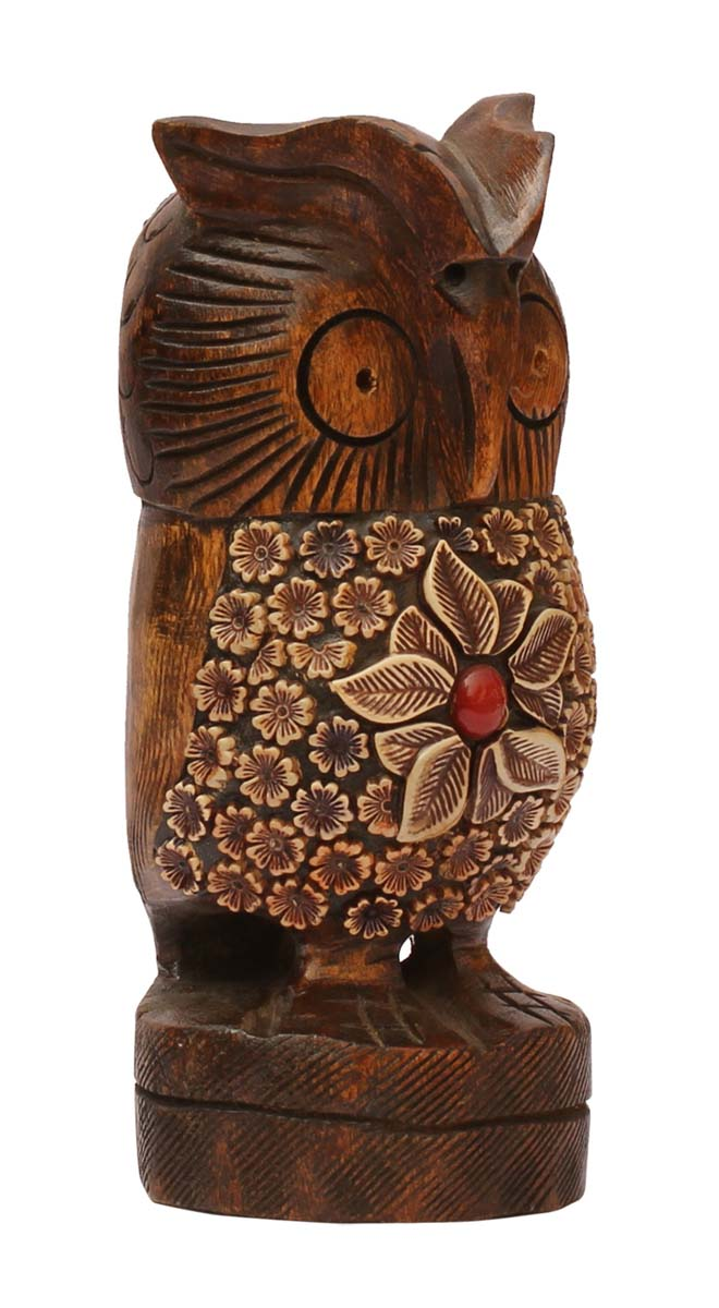 Owl with Red Stone Details