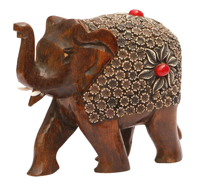 Elephant with Red Stone Details