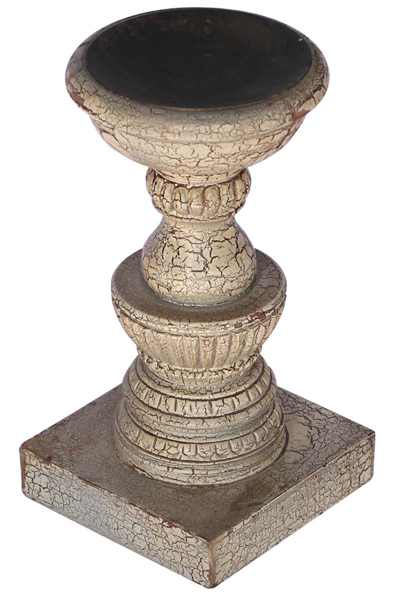 Grey Pillar Candle Holder