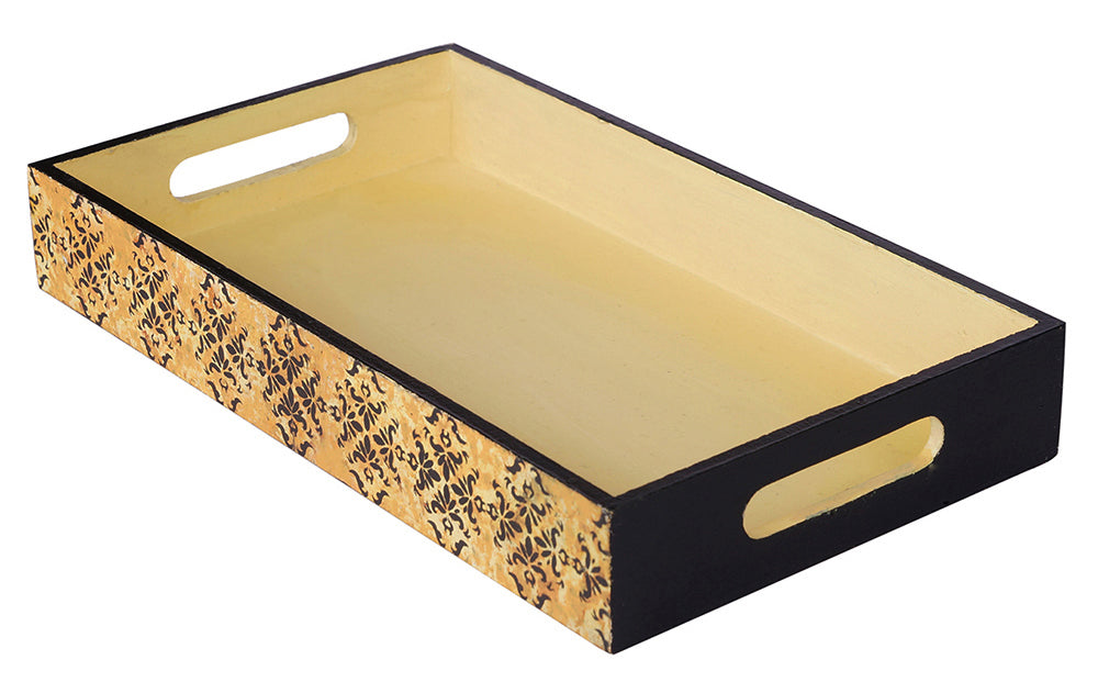 Yellow and Black Wooden Tray