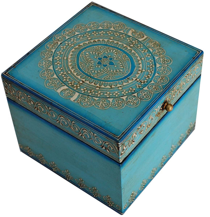 Blue Wood Storage Box
