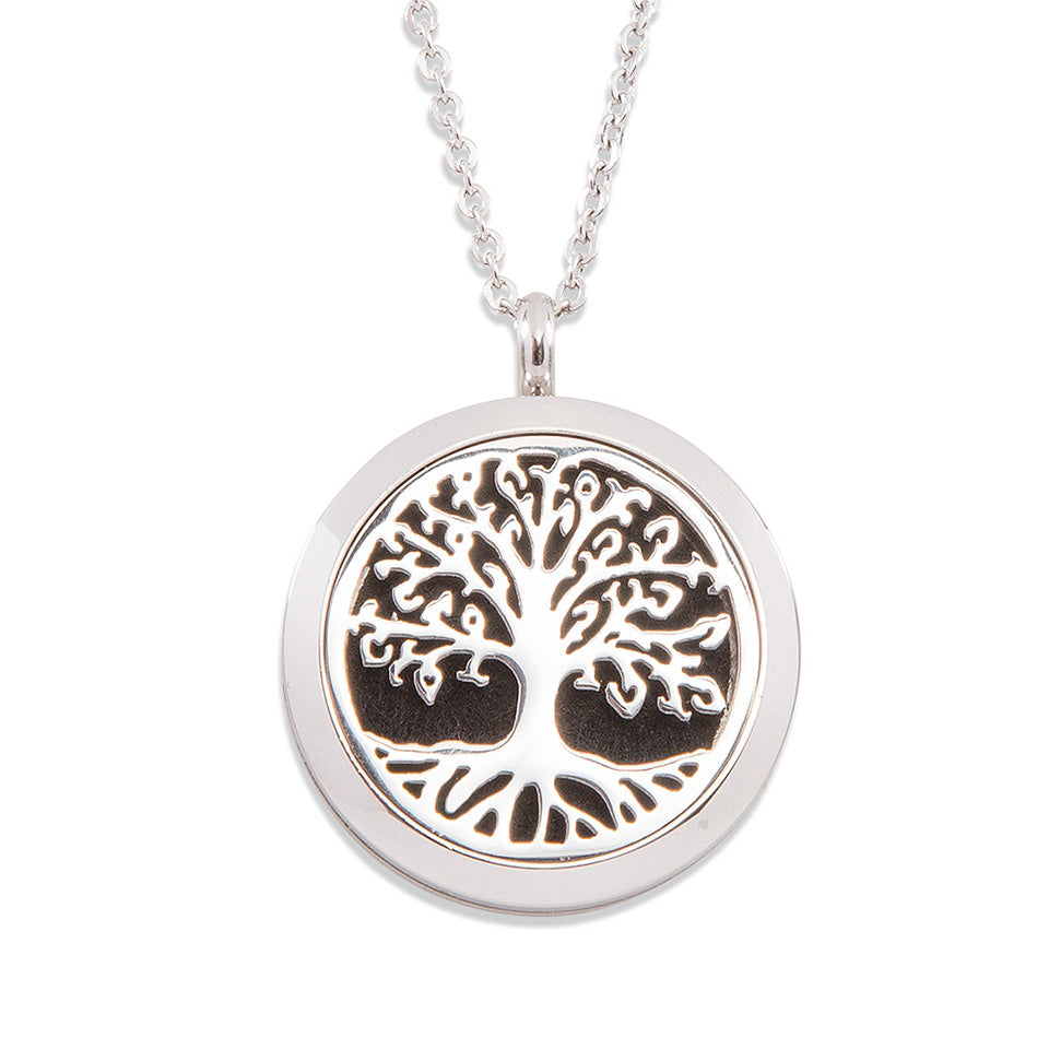 Silver Aromatherapy Tree of Life Diffuser Locket Necklace
