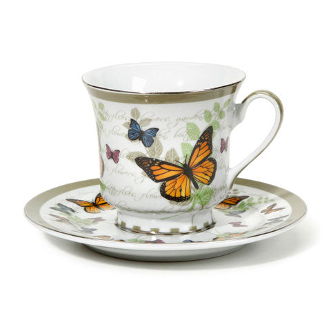 Butterfly Pattern Saucer and Teacup