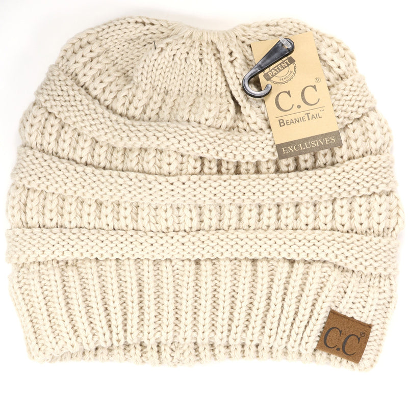 Solid Classic CC Beanie Tail Hat