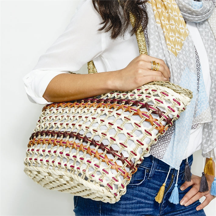 Multi Striped Straw Tote Bag