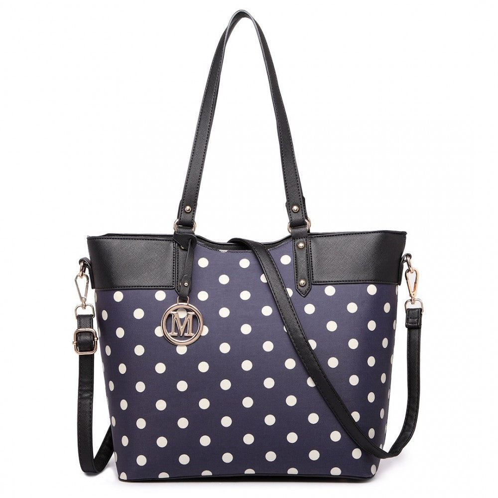 Polka Dot Print Tote Bag - Navy