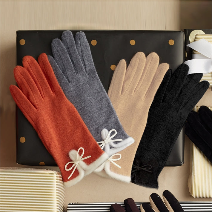 Stay in Touch - Touch Screen Gloves with Trim and Bow