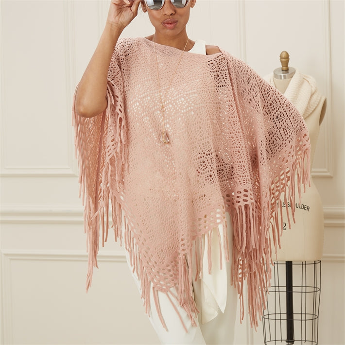 Four Seasons Open Weave Shawl with Fringe