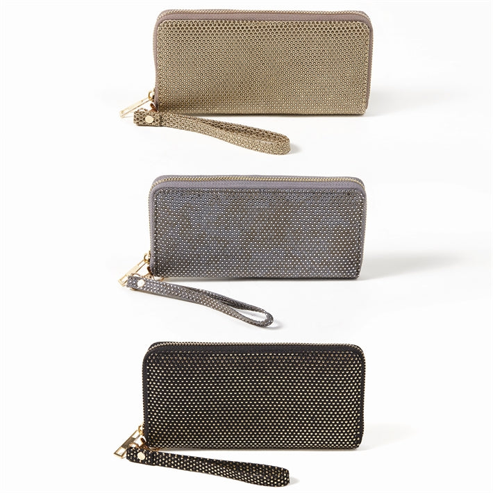Studded Wallet with Removable Wristlet