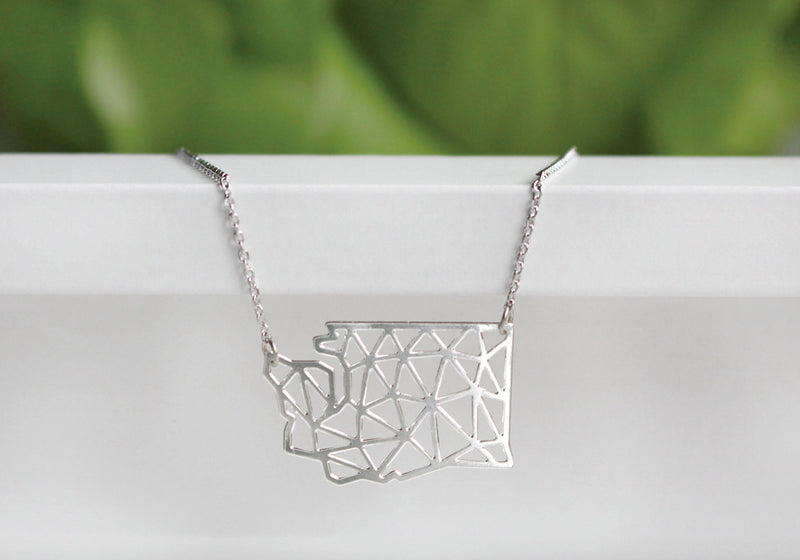 Washington State Geometric Necklace | Silver Plated