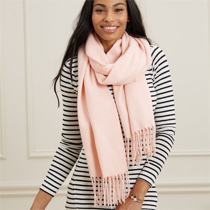 Perfect and Pink Cashmere-Like Petal Pink Scarf with Tassels