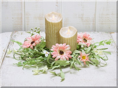 Pink Daisy Small Wreath/Candle Ring