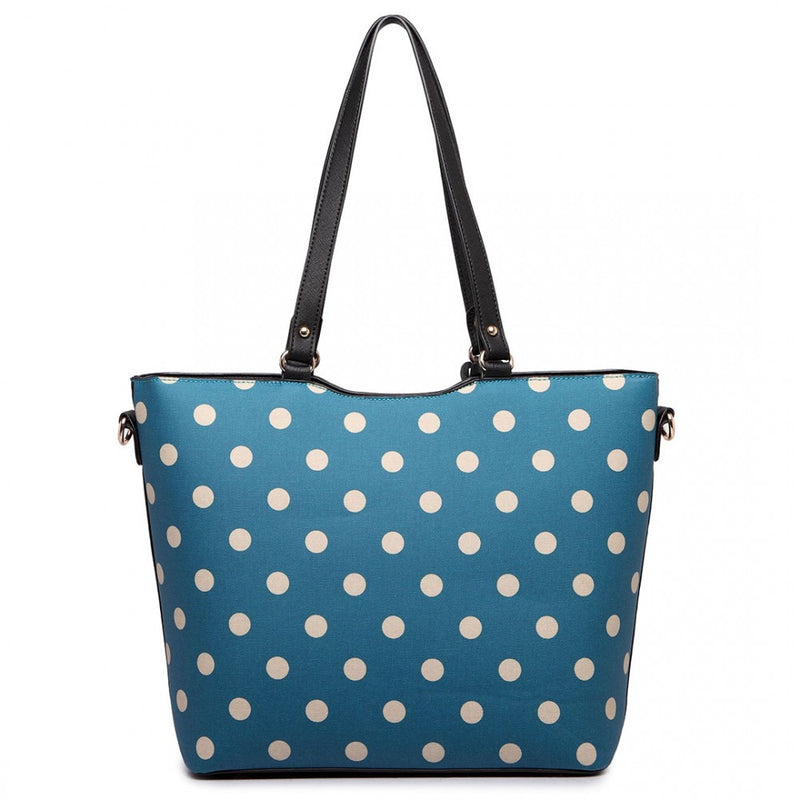Polka Dot Print Tote Bag - Teal