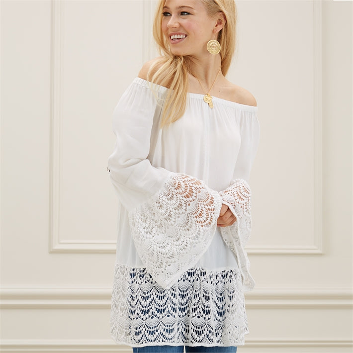 Gretchen White Off-the-Shoulder Lace Trimmed Top with Bell Sleeves